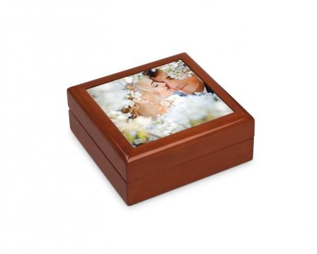 Boite à bijoux de 13,7 cm x 13,7 cm personnalisée avec votre photo.