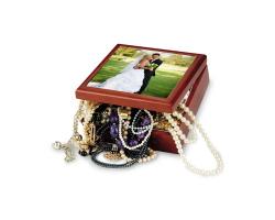 Boite à bijoux de 18 cm x 18 cm personnalisée avec votre photo.