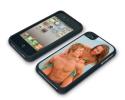 Coque de protection noire pour Iphone 4 et 4s personnalisée avec une photo