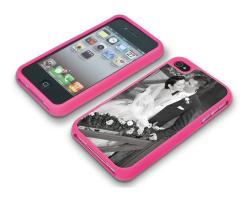 Coque de protection rose pour Iphone 4 et 4s personnalisée avec une photo