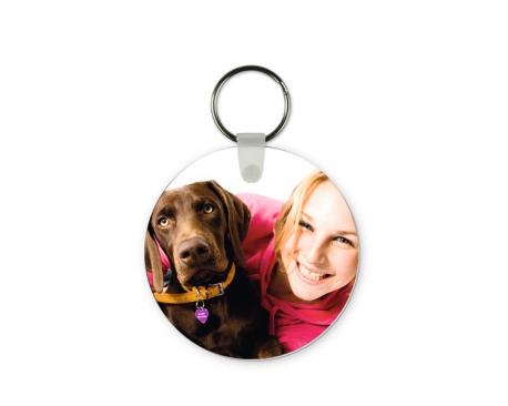 Porte-clés rond à personnaliser avec une ou deux photos