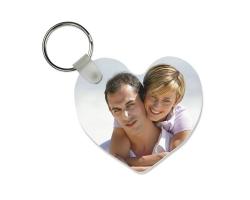 Porte-clés en forme de coeur à personnaliser avec une ou deux photos