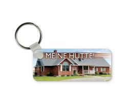 Porte-clés rectangulaire en plastique à personnaliser avec une ou deux photos