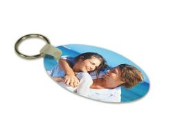 Porte-clés ovale à personnaliser avec une ou deux photos