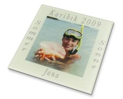 Sous-verre carré en verre à personnaliser avec une photo