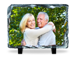 Panneau rectangulaire en ardoise à personnaliser avec une photo de 14 cm par 19 cm