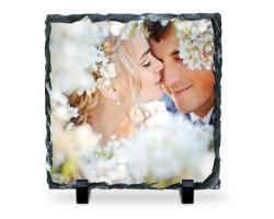 Panneau carré en ardoise à personnaliser avec une photo de 19 cm
