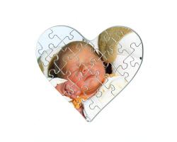Puzzle 21 pièces en forme de coeur, à personnaliser avec une photo