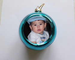 Boule de Noël à personnaliser avec une photo