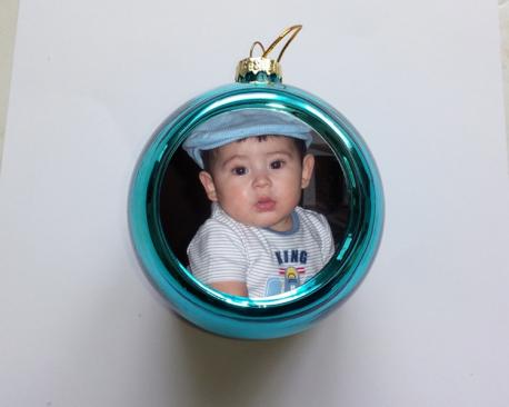 Boule de no l bleue personnaliser avec une photo - Boule de noel a personnaliser ...