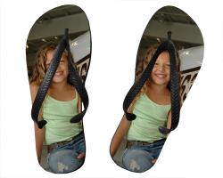Tongs taille YS (25-28) personnalisés avec deux photos