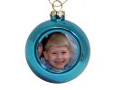 Petite boule de Noël bleue à personnaliser avec une photo