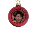 Petite boule de Noël rouge à personnaliser avec une photo