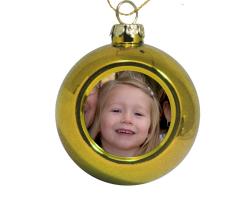 Petite boule de Noël dorée à personnaliser avec une photo