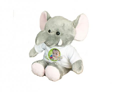 Eléphant en peluche avec tee-shirt personnalisable